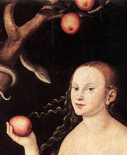 Eve with apple and serpent