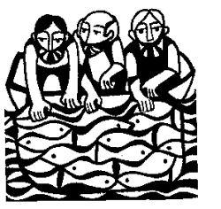 Jesus' disciples fishing