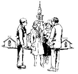 people standing outside church