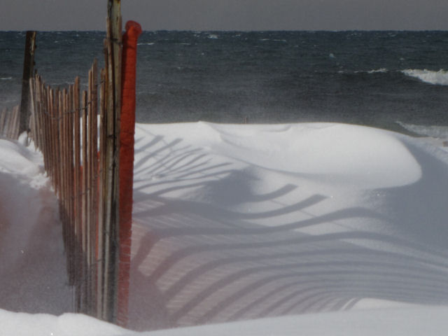 snow fence shadow