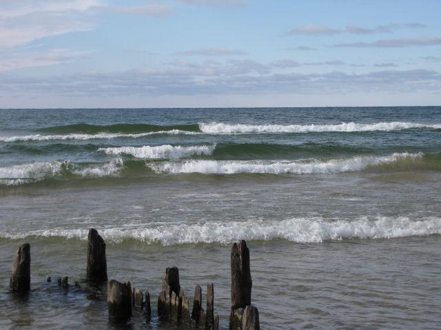 waves breaking on pilings